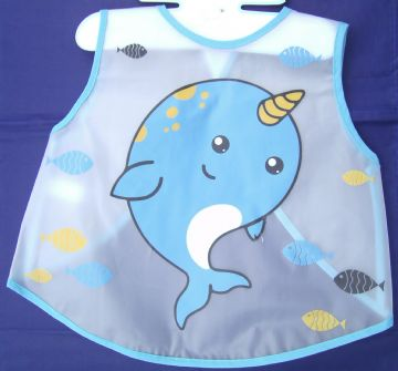 Whale Design Wipe Clean Animal Bib Baby Feeding Dribble Boy